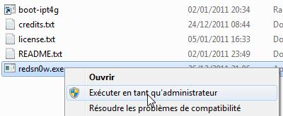 sous Windows execution en mode admin