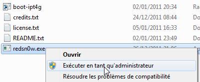 sous Windows execution en mode admin